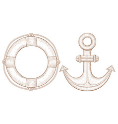 Lifebuoy and anchor - sea symbols hand drawn vector