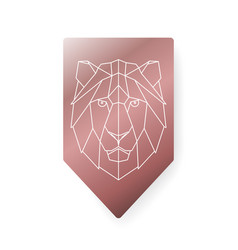 lion polygonal head sign vector image