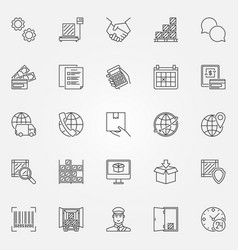 Logistics line icons set vector