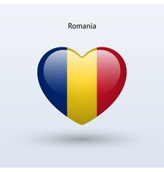 Love Romania symbol Heart flag icon vector
