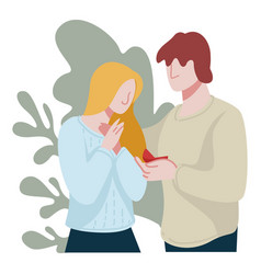 man proposing to girlfriend marrying couple in vector image