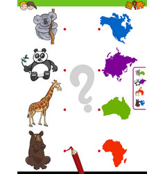 Match animals and continents educational task vector