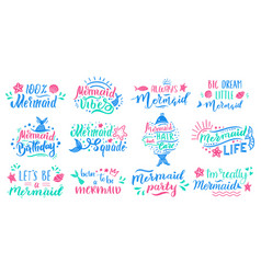 mermaids lettering quotes hand drawn little vector image