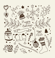 merry christmas hand drawn concept vector image