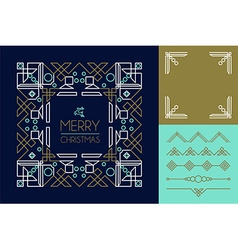 Merry christmas mono line set ornament frame deco vector