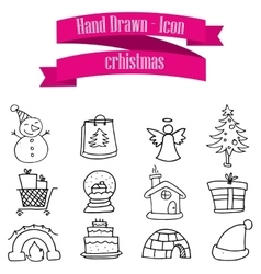 Merry Christmas of icons collection vector