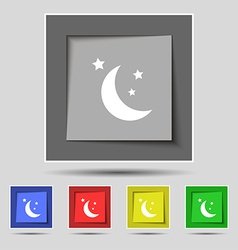 Moon icon sign on original five colored buttons vector