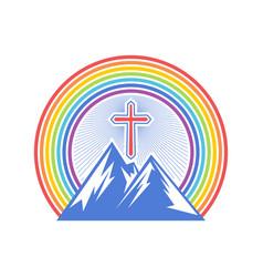 Mountain and cross vector