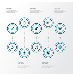Multimedia icons colored set with silence vector