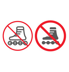 no roller skates line and glyph icon prohibition vector image
