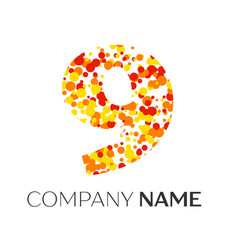 Number nine with orange yellow red particles vector