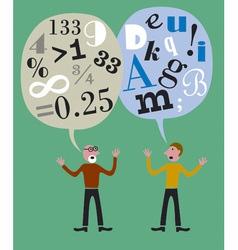 numbers versus letters vector image