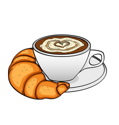 object on white background breakfast coffee with vector image