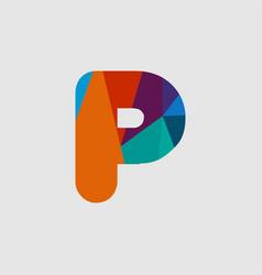 P diamond font template design vector