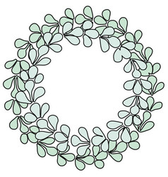 pastel blue laurel wreath frame isolated on white vector image