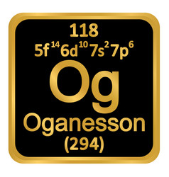 Periodic table element oganesson icon vector