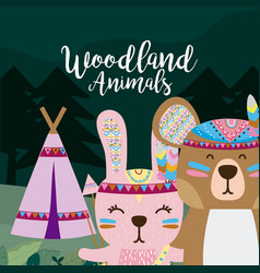 Rabbit and bear wooland animals cartoon vector