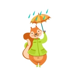 Red Squirrel In Autumn Coat With Umbrella Under vector
