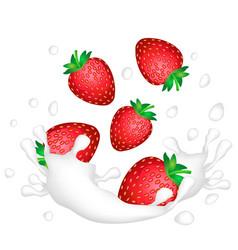 red strawberries and a splash of milk or yogurt vector image