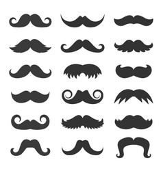 retro fashion mustache icon set vector image