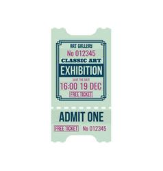 Retro ticket to classic art exhibition admit one vector