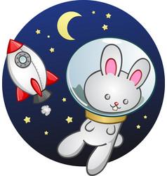 Rocket ship bunny rabbit cartoon vector