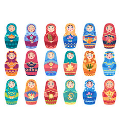 russian doll colored traditional moscow toys vector image
