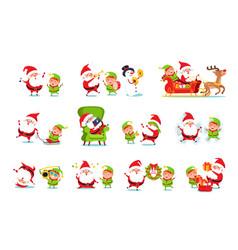 santa claus helper activities vector image