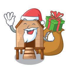 Santa with gift chicken in a wooden cartoon coop vector