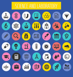 science and laboratory icon set trendy flat icons vector image