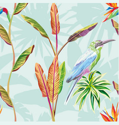 seamless composition tropical leaves flowers vector image