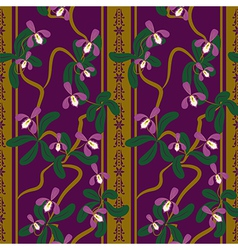 Seamless floral pattern with orchides vector image vector image