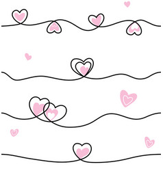 seamless line heart pattern cute style background vector image