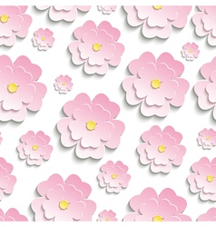 Seamless pattern with pink 3d sakura vector
