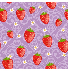 Seamless strawberries background vector image vector image