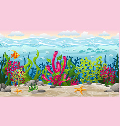 Seamless underwater landscape with separate layers vector