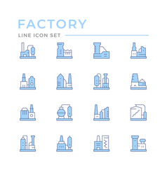 set color line icons factory vector image
