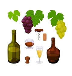 Set color winery icons vector