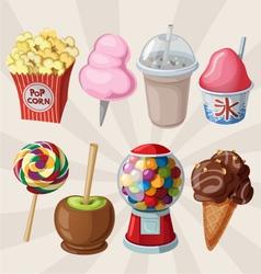 set fair sweets and treats vector image