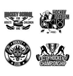set hockey emblems labels badges logos vector image