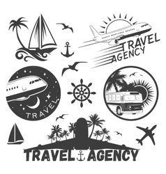 Set of travel and transportation labels in vector