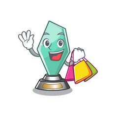 Shopping acrylic trophy isolated with mascot vector