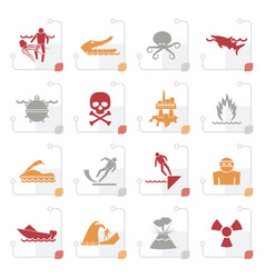 Stylized warning signs for dangers in sea ocean vector