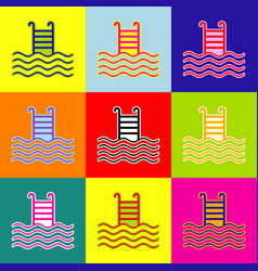 Swimming pool sign pop-art style colorful vector
