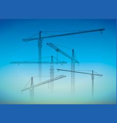 tower construction crane line art on white vector image