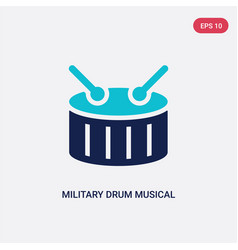 Two color military drum musical instrument icon vector