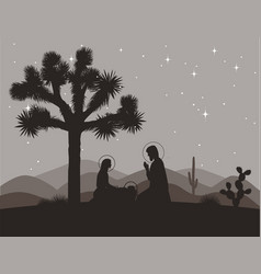 Unusual nativity scene with joshua tree saint vector