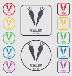 vegetarian cuisine icon sign symbol on the Round vector image