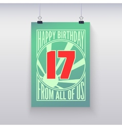 Vintage retro poster Happy birthday vector image
