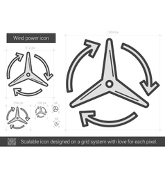 Wind power line icon vector